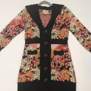 Anthropologie Lia Molly brown floral cardigan M